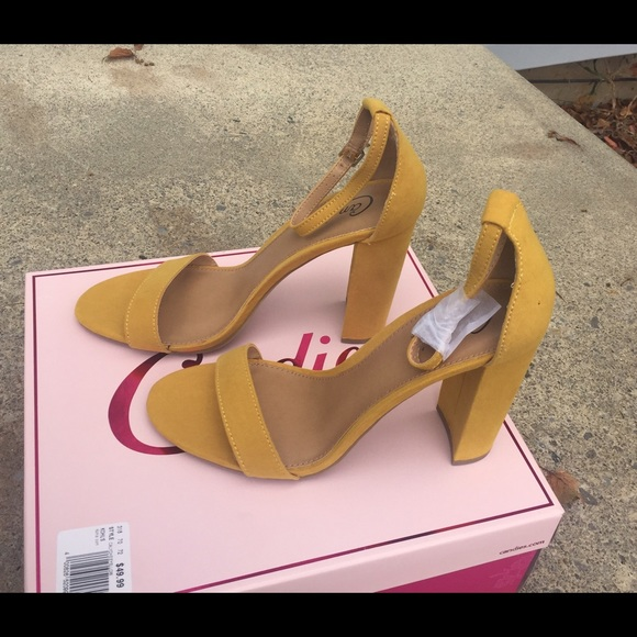 810ae3b5788 Candies Mustard Ankle Strap Block Heel Sandals