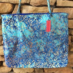 about color Handbags - NWT Batik Cotton Tote in Blue & Gold