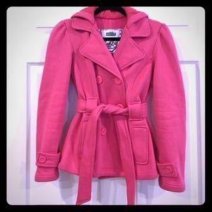 Sebby Jackets & Blazers - Pink Belted Fleece Coat