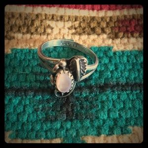 Vintage Jewelry - Small Mother of Pearl Sterling Signed Ring