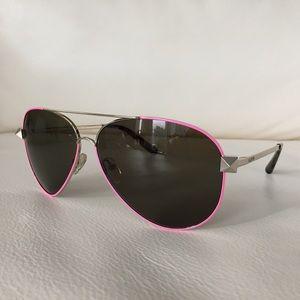 Valentino Pink Silver Rockstud Aviator Sunglasses