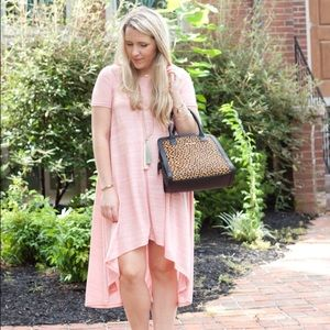 Blush pink tee dress with high low hem