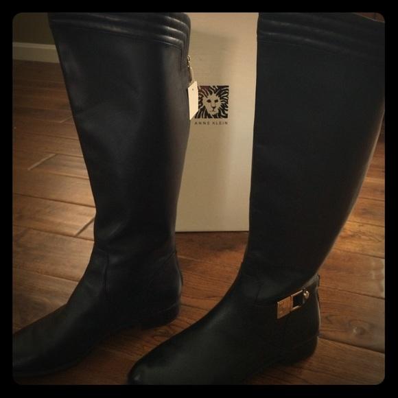 f858de24c26 NEW Anne Klein WIDE CALF black leather boots sz 10