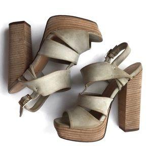 Grey Beige Chunky Heeled Sandals