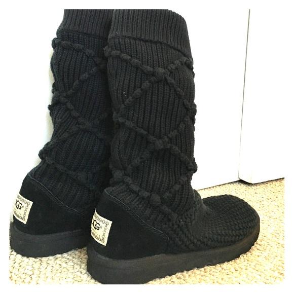 deb3c71db9c UGG Boots--Tall, Black, Argyle, Knit Boots