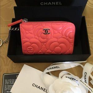 CHANEL Handbags - Chanel Classic CC Coral Camellia Card Case Wallet