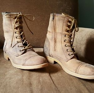Bed Stu Distressed Lace Up Tan Boots