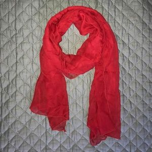 Accessories - Holiday Red silk chiffon scarf