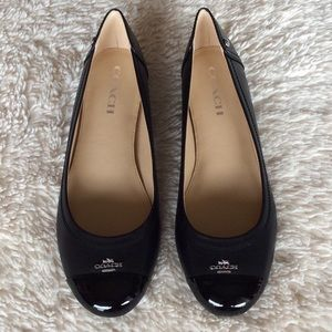 ... reduced coach shoes nwt coach chelsea matte calf patent black flat  ef441 4be93 39192cc6ec