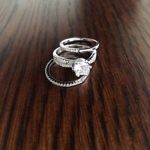Sterling Silver Solitaire Ring Set