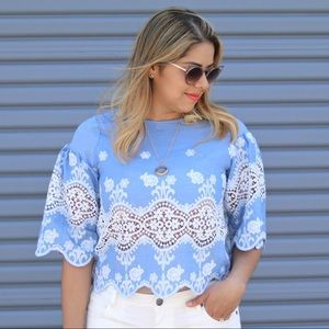 Embroidered Lace Cutout Top (S/M)