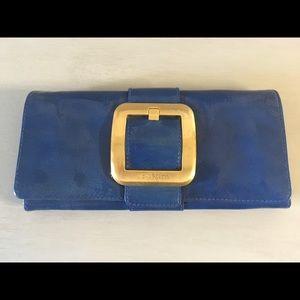 Michael Kors Sutton Clutch Blue Patent Leather