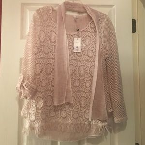 Natural color lace top with scarf