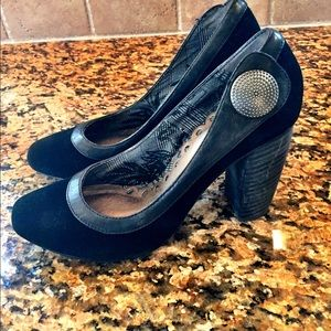 Seychelles Shoes - Black Suede With Leather Trim Black Heels