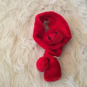 Cute and cozy red bear scarf