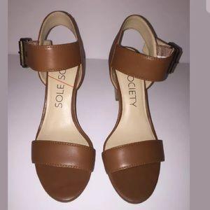 Sole Society Cognac Block Heel Sandals 6.5