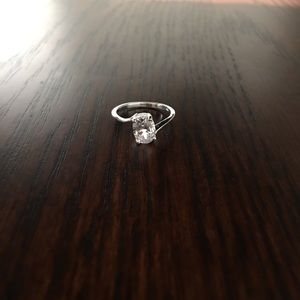 Sterling Silver Solitaire Ring with Cz