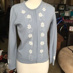 BABY BLUE JILLIAN JONES VINTAGE BEADED CARDIGAN