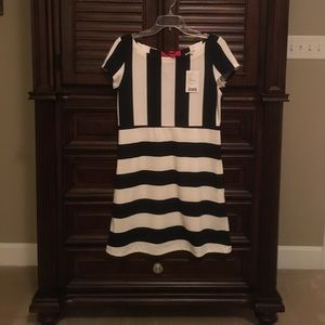 SALEANTHRO Navy & Cream Striped Dress