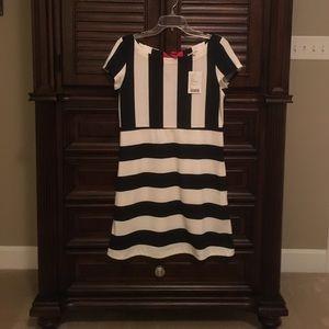 SALEANTHRO Navy & Cream Striped Dress