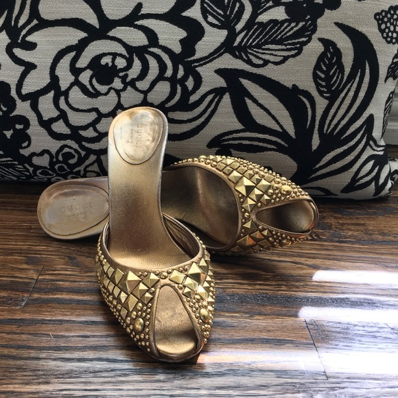 bf77d643eab Gucci Shoes - Gold studded Gucci peep toe Mule