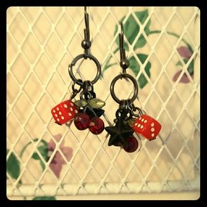 Hot Topic Jewelry - Red dice, cherry, and star earrings.