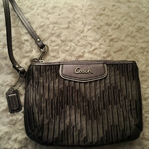 Coach Gray Pleated Satin Wristlet