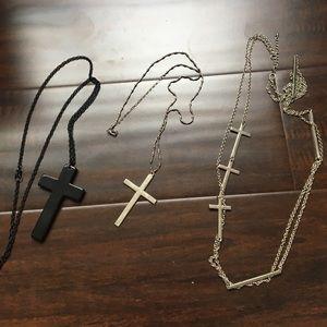 Jewelry - 3 Cross Necklaces bundle!
