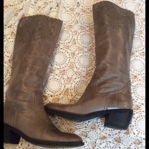 Franco Sarto Leather Laser Cut Boot