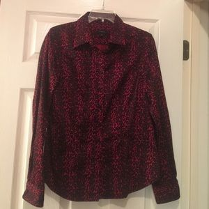 Red animal print blouse