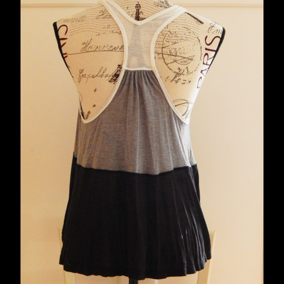 Splendid Tops - White, Gray, and Black Striped Soft Tank Top Sz S