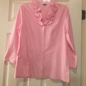 Pretty pink blouse with ruffled collar