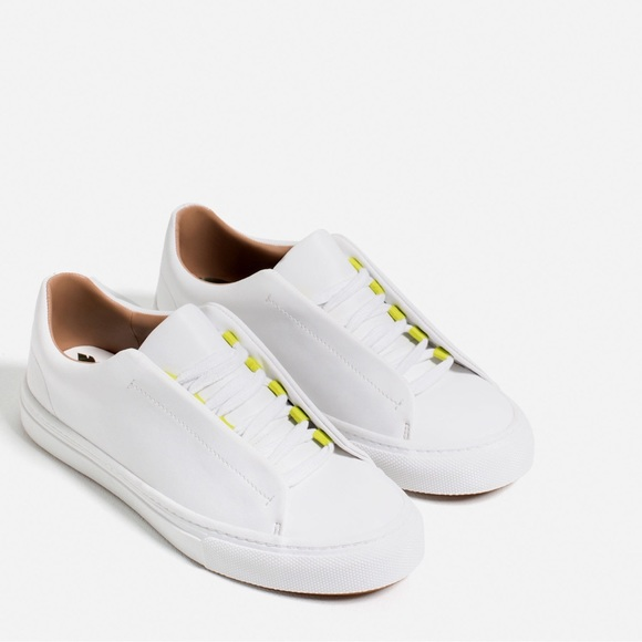 Zara Shoes | Zara White Casual Lace Up