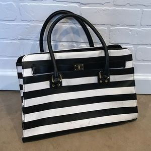 Handbags - Black white stripe purse handbag (no brand)