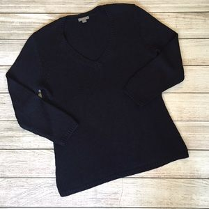 Ann Taylor Sweaters - Silk Navy V-neck Sweater