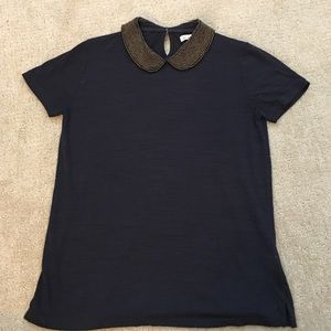Madewell top w/ beaded collar
