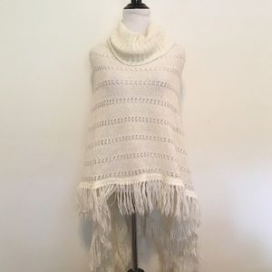 a.n.a Jackets & Blazers - 🆑 Cream Knit Fringe Turtleneck Poncho