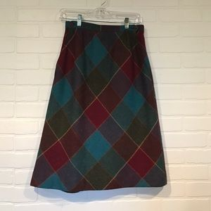Vintage retro A-Line skirt jewel-tone plaid 8