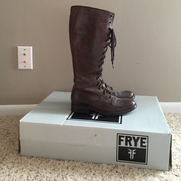 22b319912abe Frye Shoes - Frye Melissa Tall Lace Up Boots in Dark Brown