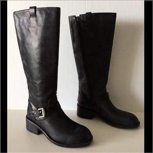 RAG & BONE NORTON BLACK LEATHER KNEE BOOTS 36.5