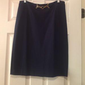 Ponte knit navy skirt