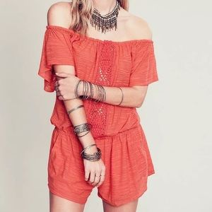 Free People Pants - FREE PEOPLE Woven Romper Intricate Casual Jumpsuit