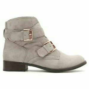 Shoes - 🌺🍁 Grey Faux Suede Booties Size 9