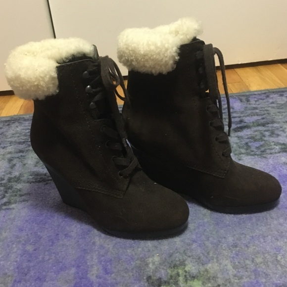 ed5200a977 Hogan Shoes | Shearlinglined Laceup Wedge Bootie | Poshmark