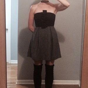 Adorable Black/Grey Party Dress - Strapless