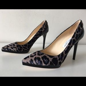 JIMMY CHOO RADY LEOPARD PRINT CALF HAIR PUMPS 40.5