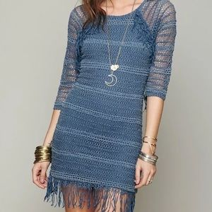 FREE PEOPLE Mini Dress Casual Stretch Eyelet Tunic