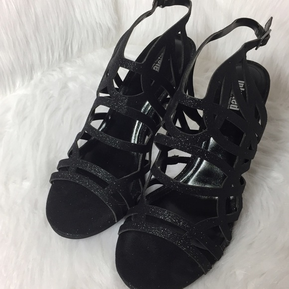 Unlisted Shoes - Unlisted Middle Town Sandal Black Glitter Heels