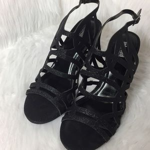 Unlisted Middle Town Sandal Black Glitter Heels