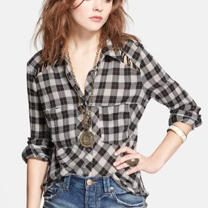 Free People lace up shoulder flannel